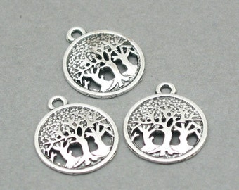 12 Tree Charms, Tree of Life pendant beads, Antique Silver 16mm CM0786S
