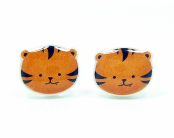 Tiger Earrings | Sterling Silver Posts Studs | Gifts For Her