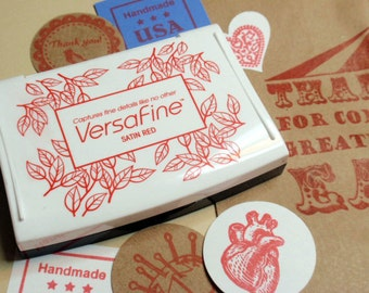 Satin Red Ink Pad - Versafine by Tsukineko - Full sized  - The BEST ink for Detailed Rubber Stamps says Blossom Stamps