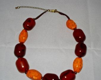 Vintage Amber and orange choker necklace