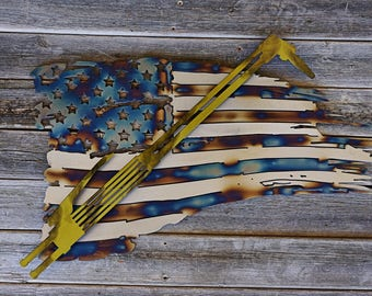 2ft USA flag tattered with cutting torch
