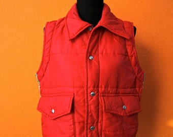 Vintage 70's Hipster Red Gold & Green Ski Vest - Puffy by Mel Nick Size Small