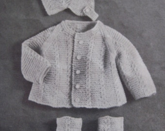 Baby Knitting Patterns, Vintage PDF Patterns, Knit Baby Patterns Layette Set MM2
