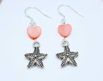 Starfish Earrings, Beach Earrings, Coastal Jewelry, Heart Earrings, Valentine's Gift, Starfish Jewelry, Ocean Earrings, Gift for Her