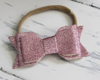 Glitter Bow Headbands, Nylon Headbands, Newborn Headband, Sparkle Bow Headbands, Baby Headbands, Toddler Headband,Girls Headband,Glitter Bow