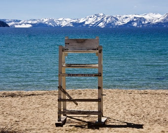 Wooden lifeguard chair on the beach at Sand Harbor on the shores of Lake Tahoe. Nevada. USA