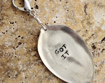 Spoon Purse Charm, Bag Charm, Hand Stamped GOT IT, Recycled Vintage Silverware Keychain, Spoon Key Ring, Flattened Spoon by Hendywood