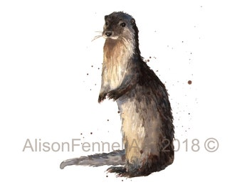 WATERCOLOUR otter print 8x10 inches