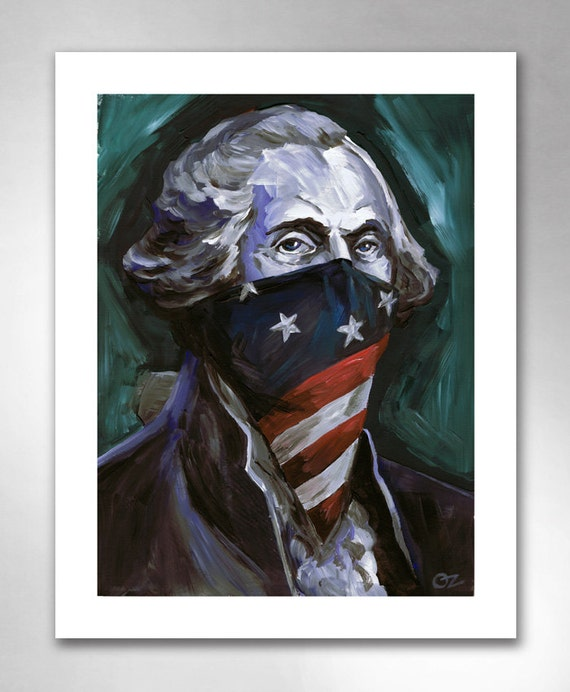 GEORGE WASHINGTON Revolutionary Outlaw American Art Print 11x14 by Rob Ozborne