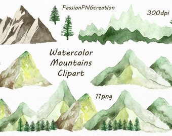 Watercolor Mountains Clipart, PNG, hand painted, Watercolour Mountain clip art, Hills,mountain graphics, For Personal and Commercial Use