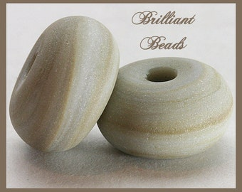 "Grey Quartz...""Sea Glass"" Spacer Bead Pair...Handmade Lampwork Beads SRA, Made To Order"
