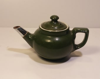 Vintage Mid-Century HALL USA Personal Green Tea Pot with metal covered spout - Vintage kitchen, vintage tea set, vintage tea time