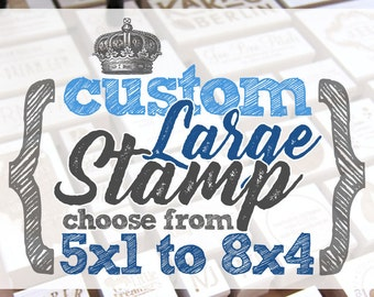 5x1 to 8x4 inches - CUSTOM Art Wood Mounted Rubber Stamp - Logo, Branding, Packaging, Invitations, Party, Favors, Wedding, Business