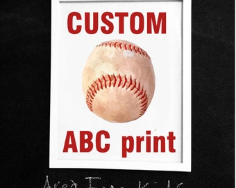 CUSTOM BASEBALL Team ABC Nursery Art Print