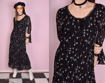 90s Floral Print Flowy Dress/ Small/ 1990s/ Long Sleeve/ Flounce Sleeve