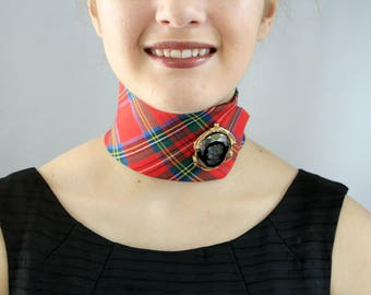 Red Tartan Choker Made From Up-Cycled Necktie - The Elizabeth Choker. #3