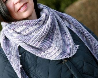Triangle knitted Shawl Pattern, asymmetrical triangle shawl, Like an Ocean shawl, Knitted Shawl Pattern PDF, Easy knitted striped shawl