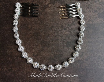 Rhinestone Bridal Headpiece, Bridal Headband, Crystal Hair Tiara, Wedding Headpiece, Rhinestone Chain Haircomb, Prom Headband