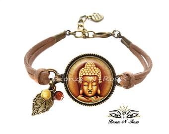 ° ° Gem cabochon Brown bronze Buddha bracelet zen glass