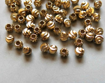 100pcs Raw Brass Round Carved Beads Spacer Beads 3mmx3.5mm - F417