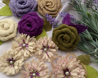 Lavender and Purple Burlap Wedding Flowers - Set of 10 - Rustic Wedding, Woodland Wedding, Shabby and Burlap Flower Set