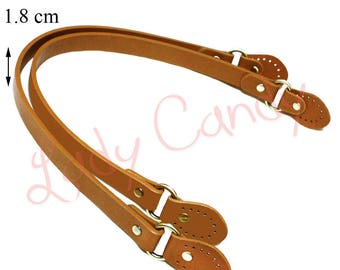 Pair of light brown faux leather bag handles 53.5 cm #330100