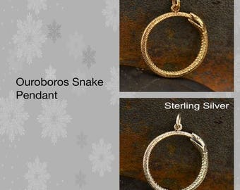 Ouroboros Snake Pendant - Bronze and Sterling Silver
