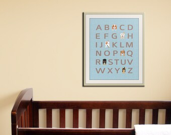 Dog alphabet nursery art for children. Typography alphabet print, dog art print for kids. Nursery decor, kids decor, funky ABC print