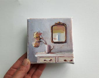 small canvas print, acrylic painting , flower print, stillife print, bohemian print, small painting, tiny canvas, mini canvas, 4x4 print