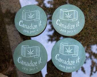 Green Slate stone round shape drink coaster set hand carved fantasy design legalize Marihuana