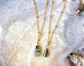 Simply Tourmaline necklace - raw and natural petite tourmaline pendant on 14k gold chain