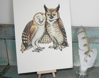 Owl Couple Illustration - A4 Print on 270gsm Card available in 3 Colours