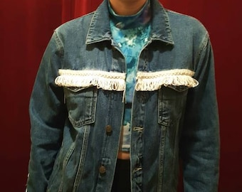 Handpainted and upcycled oversize unique demin ladies jacket!
