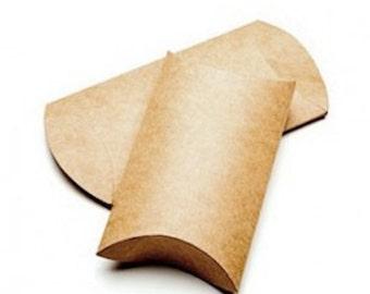 "25 Kraft Pillow Boxes Small 2"" x 3/4"" x 3"""