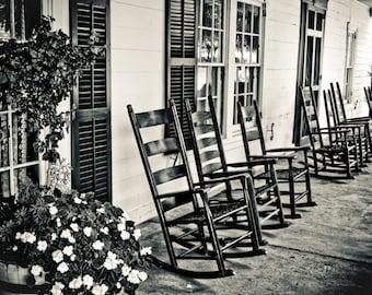 Cozy Front Porch & Rocking Chairs Fine Art Print - Travel, Scenic, Landscape, Nature, Home Decor, Zen