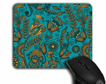 Floral Mouse Pad,Office Decor,Gift for Her,cute Mouse Pads,Teal and gold,Floral pattern,mousepad,cloth top,MP-071