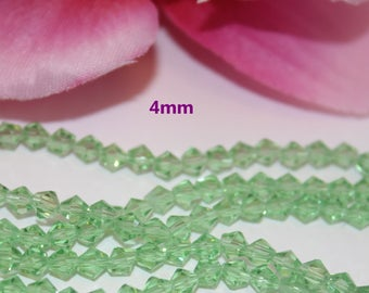 Lot 50 Crystal Bicone 4mm transparent green faceted bicone beads