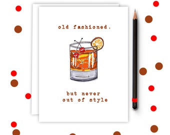 Old Fashioned Cocktail - Birthday Card -  Old Fashioned - Birthday, Retirement