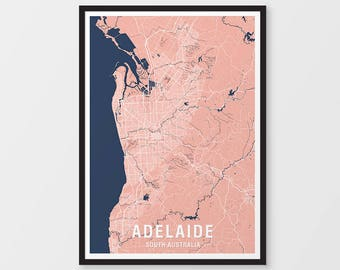 Adelaide City Map Print Various Colours - Two-tone / South Australia / Framed / City Print / Australian Maps / Giclee Print / Poster