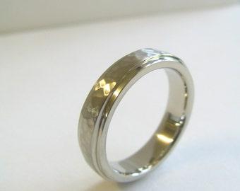 Mens Custom Wedding Band Sterling Silver hammered and high polish. Men's Hammered Wedding Ring. Men's custom wedding ring.