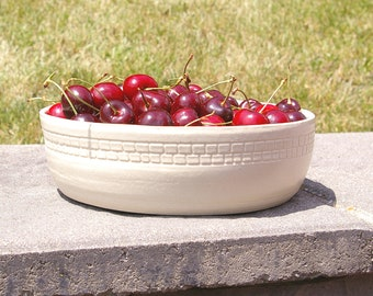 Large Pottery Centerpiece Bowl, Low White Ceramic Fruit Bowl, Eight 8 inch  Handmade Ceramic Bowl, Kitchen Gift for Mom Gift for Couple