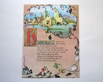 Nursery Art Print Vintage German Art Typography Art Decor Pied Piper Childrens Wall Art Storybook Nursery Art