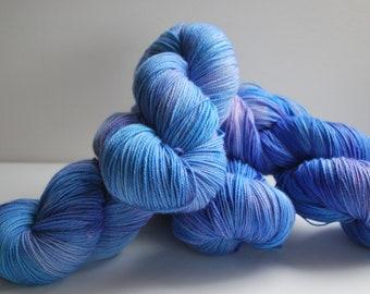 Lord of the Rings inspired hand painted yarn, Superwash Merino, fingering yarn, 420 yards, blue, bright, streaky, turquoise, bold, purple