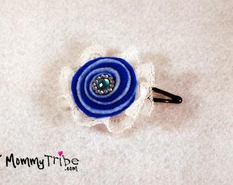 Girls Blue Hair Clip Blue and White Ribbon Flower Hair Clip Swarovski Hair Clip  Elegant Hairpin