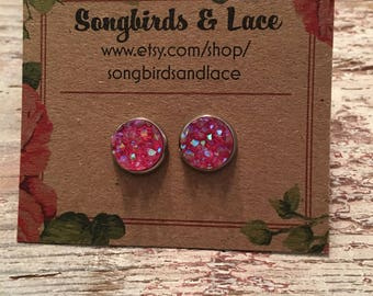Hot pink druzy on stainless steel stud - 8mm