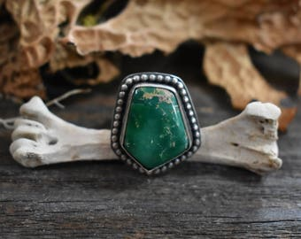 Simple Series - Broken Arrow Variscite and Sterling Silver Handmade Artisan Silversmith Ring