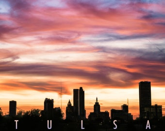 Downtown Tulsa Sunset Print / City Skyline Wall Art \ Building Silhouette / Midwest Photography / Oklahoma Home Decor \ Art Deco Modern