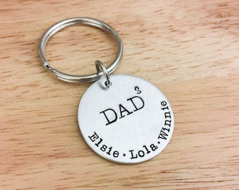 Dad to the 3rd Power Keychain - Dad Gift - Father's Day Gift - Personalized Keychain - Dad of 3 - Dad of Triplets - Personalized Dad - Geeky