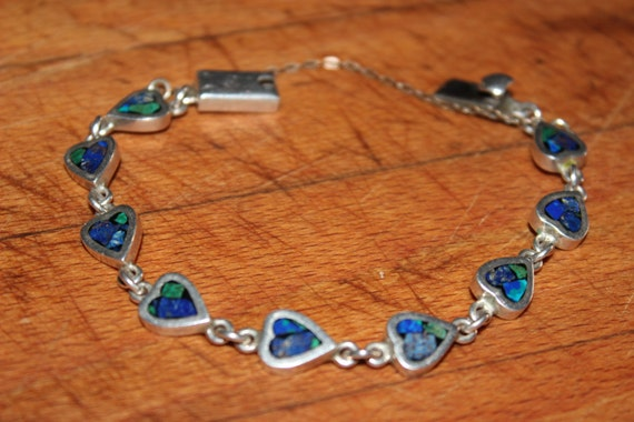 """Vintage Sterling Silver Heart Bracelet Mexico Turquoise Blue Lapis  7. 1/2"""" Long 7/16"""" Wide Heavy 20.8 grams Sterling Mexico Hecho en Taxco"""