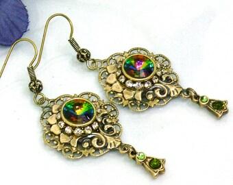 Victorian Earrings Aantique Crystal Earrings Filigree Gold Earrings Swarovski Earrings Green Art Deco Earrings Drop Art Nouveau Earrings